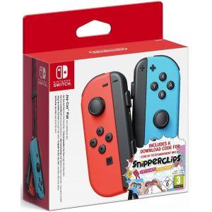 Nintendo Paire de manettes Joy-Con bleu & rouge néon + Code de téléchargement pour Snipperclips