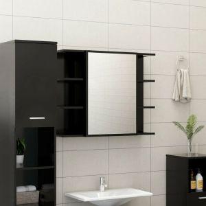 VidaXL Armoire à miroir de salle de bain Noir 80x20,5x64 cm Aggloméré