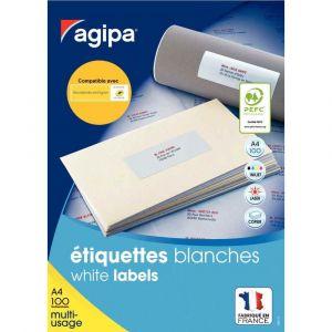 Agipa 101309 - 2400 étiquettes blanches multi-usage, format 63,5 x 33,9 mm (100 feuilles / cdt)