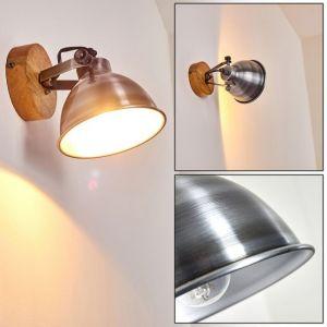 Hofstein Applique Svanfolk en métal aspect acier brossé et bois, spot orientable au style rétro pour une ampoule E14, max. 40 Watts, compatible LED