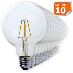 Lampesecoenergie Lot de 10 Ampoules Led Filament Globe G95 Style Edison 7 watt (eq.52 watt) Culot E27