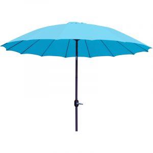 Pegane Parasol rond en aluminium coloris bleu - Dim : D 2,50 X 2,40 M -