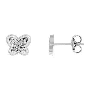 Cleor Boucles d'oreilles sont en Or 750/1000 Blanc et Diamant...
