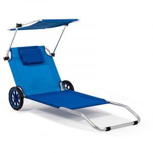 Kinderkraft HomeKraft Maui Ride Transat Chaise de Plage Pliable Bleu avec Parasol roulettes
