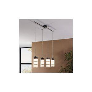 Eglo Olvero - Suspension barre LED 4 lumières satinées avec rayures blanches