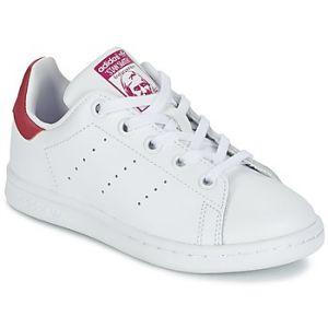 Adidas Stan Smith, Baskets Mixte Enfant, Blanc (Footwear White/Footwear White/Bold Pink), 28.5 EU