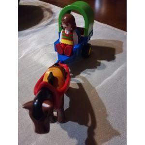 Playmobil 6779 1.2.3 - Chariot avec Poney