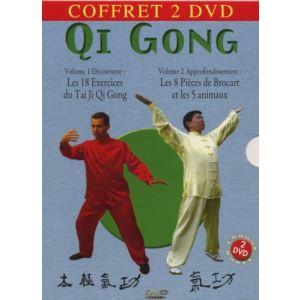 Coffret Qi gong - Approfondissement Volume 2 : Les 8 pièces de brocart et les 5 animaux  + Découverte Volume 1 : Les 18 exercices du Tai Ji Qi Gong