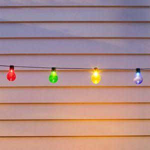 Lights4Fun Guirlande Lumineuse Guinguette Solaire avec 10 Boules LED Multicolores