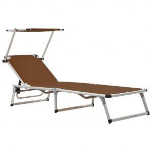 VidaXL Chaise longue pliable Marron Aluminium et textilène