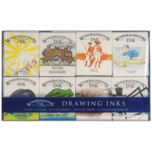 Winsor & Newton William Set de 8 Flacons d'encre spéciale 14 ml