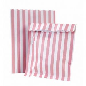 Talking Tables 10 sachets en papier rayés roses et blancs Pink Party