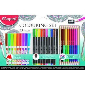 Maped 89741733pièces embouts feutre de coloriage Brosse Y Compris, stylos feutres, crayons de couleur et taille-crayon en métal