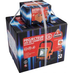 Dhome Projecteur LED de chantier rechargeable - 1800 lm - 2 batteries