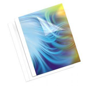 Fellowes 53141 - Boîte de 100 couvertures pré-encollées Coverlight, A4, face PVC, dos mat blanc, épaisseur 3mm