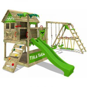 Fatmoose Aire de jeux Portique bois TikaTaka avec balançoire SurfSwing et toboggan vert pomme Cabane enfant exterieur