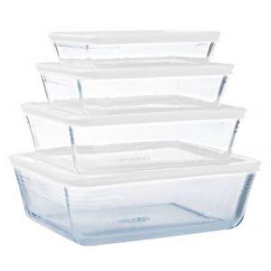 Pyrex Boîte de conservation lot de 4 en verre
