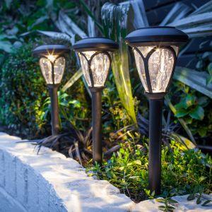 Lights4Fun Lot de 3 Lanternes Balises Solaires à LED Blanc Chaud avec Piquet pour Jardin