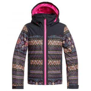 Roxy Delski Girl-Veste de Ski/Snowboardpour Fille 8-16 Ans Snowboard, True Black Albama Border, FR : L (Taille Fabricant : 12/L)