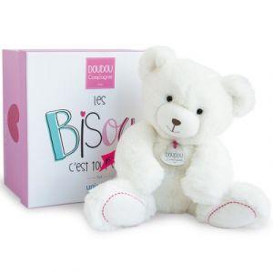 Doudou et Compagnie Peluche ours blanc (22 cm) Doudou et Compagnie
