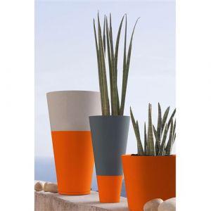 Grosfillex Pot de fleur design Tokyo 80 Diam.75 H.57 - Orange - Extérieur - Résistant à la chaleur