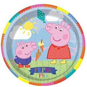 8 assiettes de fête en carton Peppa Pig (23 cm)