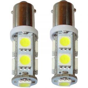 Aerzetix : 2x ampoule T4W T5W BA9s 12V 9LED SMD blanc effet xénon éclairage intérieur plaque d'immatriculation seuils de porte plafonnier pieds lecteur de carte coffre compartiment moteur