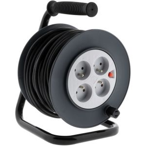Zenitech Enrouleur bricolage 20 Metres NF - Enrouleur de bricolage 4 prises 16A - Longueur 20M - Type de câble HO5VV-F 3G1,5mm².