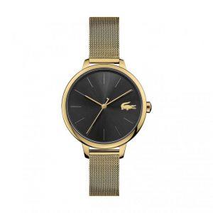 Lacoste Montre 2001102 - boitier acier plaqué ionique or jaune rond cadran noir bracelet acier maille milanaise or jaune Femme