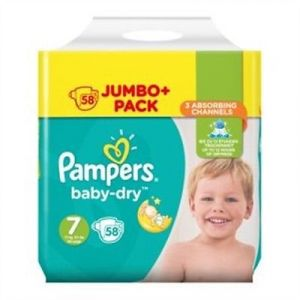 Pampers Baby-Dry Taille 7 couches 58 Jumbo Lot