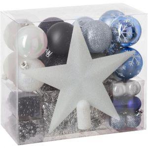 44 pièces pour décoration sapin Blanc, Gris Argent, Noir et Bleu Nuit
