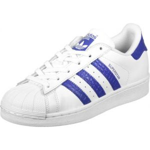 Adidas Superstar, Sneakers Basses Garçon, Blanc (Footwear White/Bold Blue/Bold Blue), 36 2/3 EU