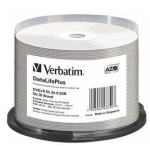 Verbatim 43754 - Spindle de 50 DVD+R double couche 8.5 Go 8x imprimables No ID Brand