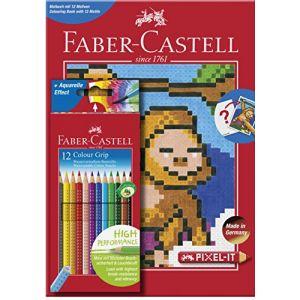 Faber-Castell Album de coloriage Pixel-It + 12 crayons de couleur Colour Grip