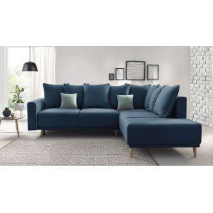 Bobochic MOLA Canapé d'Angle Droit Convertible MOLA 5 places + Coussins Bleu Marine 252x90x215/94 cm