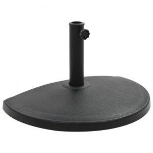 VidaXL Socle demi-rond de parasol Polyrésine 15 kg Noir