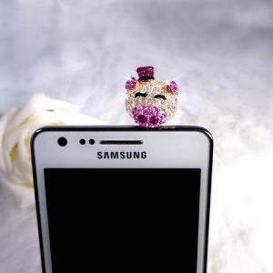 Blue Pearls Plug C0011 L - Petit Cochon anti-poussière pour smartphone