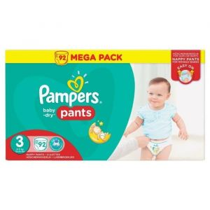 Pampers Baby-Dry Pants taillee 3 (6-11 kg) - 92 couches-culottes