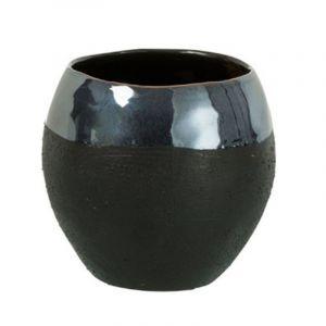 """Cac Pot en Céramique """"Boule"""" 18cm Noir & Gris Prix"""
