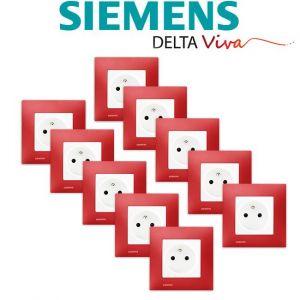 Siemens LOT 10 Prise 2P+T Blanc Delta Viva + Plaque Rouge