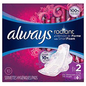 Always Radiant Serviettes Hygiéniques Long avec Ailettes Taille 2 - x10