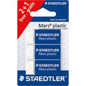Staedtler Mars Plastic - Blister de 3 Gommes - Blanc