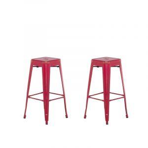 Beliani 2 tabourets de bar rouge doré de 76 cm CABRILLO