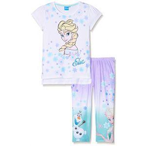 Disney La Reine des Neiges - T-Shirt avec Leggings fille - Blanc - 10 Ans