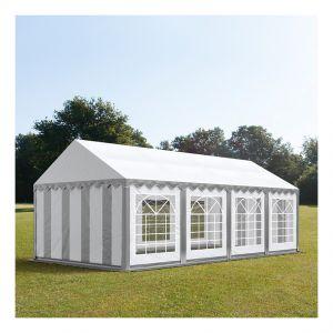 Intent24 Tente de réception 4 x 8 m PVC gris-blanc