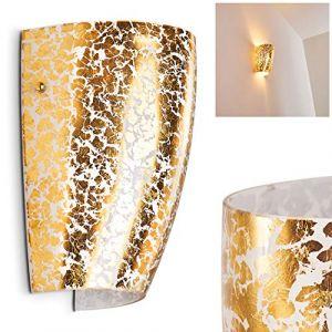 Hofstein Applique murale Severo en verre doré - lampe pour salon - couloir - chambre à coucher