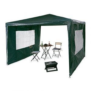 Relaxdays Tonnelle pavillon chapiteau pergola Festival 3x3 m, 2 côtés fenêtres métal PE Tente de Jardin, Vert, 300 x 300 x 250 cm