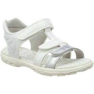 Geox Sandal Cuore J9290B Mixte Enfant Sandales,Sandales,Fille,Garcon Sandales,Chaussures d'été,Sandales d'été,Velcro,T-Fermoir,Blanc,35 EU