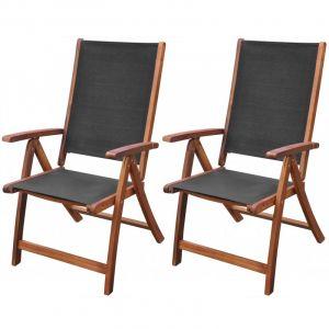 VidaXL Chaise pliable 2 pièces en bois d'acacia