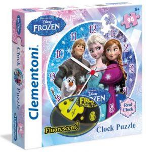 Clementoni Puzzle horloge phosphorescent : La Reine des Neiges 96 pièces